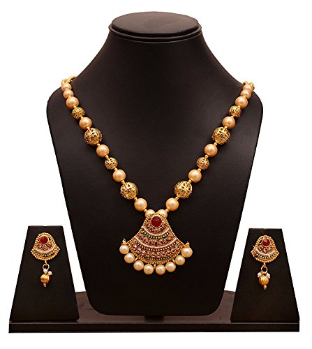 Sitashi Artificial Jewellery White Pearl Golden Pendant Necklace & Earrings Set For Women  available at amazon for Rs.359