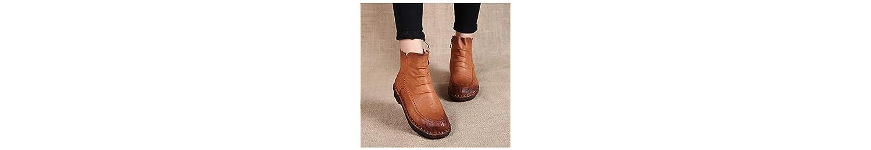 ZHZNVX HSXZ Zapatos de Mujer Cuero Nappa Otoño Invierno Confort Plano Redondeado Toe Botines Botas/Botines de... -