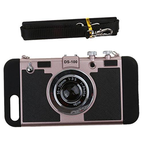MagiDeal Schutzhülle Schutztasche Tasche Cover Hülle 3D Kamera Fotoapparat Retro für iPhone 7 Plus - Rose Gold