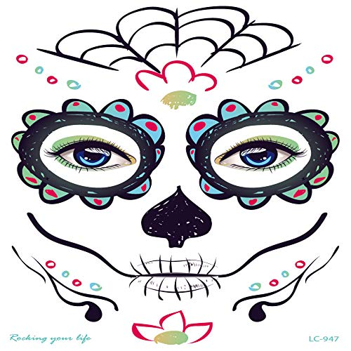 adgkitb wasserdichte Halloween Gesicht Tattoo Sticks Prom Face Aufkleber Mexican Undead Festival Tattoo Aufkleber LC-947 21x15cm