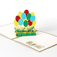 Kofun Greeting Cards Handmade 3D Pop Up Colorful Balloon Greeting Card Christmas Happy New Year Party Wedding Birthday Invitation 15 * 15cm