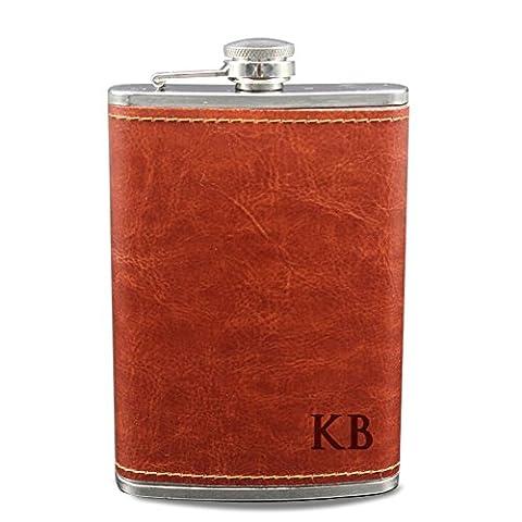 gravé Flasque pour liqueur prénom personnalisé Flasque pour homme cuir enroulée flacons en acier inoxydable pour femme