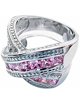 """X""-Design Ring aus Sterlingsilber mit pinkem Zirkonia"