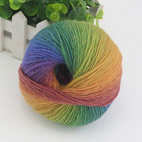 Kicode 1pc 65g Regenbogen Baumwolle Garn Bambus Protein Silk Fitness Strickanleitung Crochet Linie Charcoal Baby-Gewebe für Nähen -