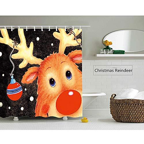 Badvorhang Schneeflocke Rentier Weihnachten Duschvorhang - Badezimmer Dekor wasserdicht Polyeste Print Duschvorhang für Badezimmer (Color : As Shown, Size : S)