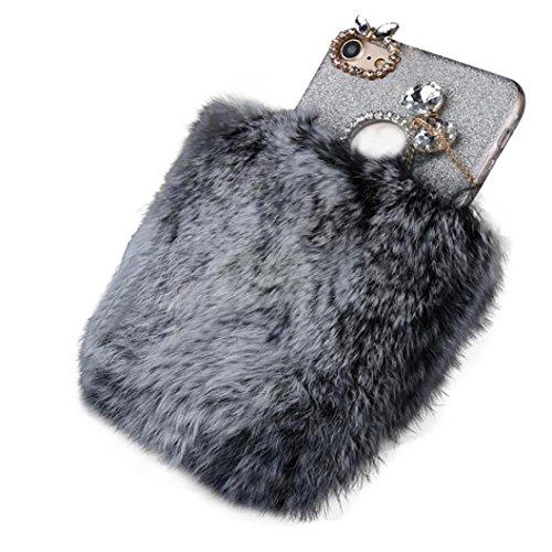 Cover per iPhone 7, Tpulling Custodia per iPhone 7 Case Cover Pelle della pelliccia della copertura della cassa della lana della peluche della pelliccia di Fluffy per il iphone 7 4.7 pollici (purple) Gray