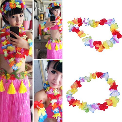 Swiftswan Tropical Hawaiian Rüschen Luau Blume Lei Bunte Halsketten Hawaiian Blumengirlanden für Beach Theme Party Supplies Gefälligkeiten Luau