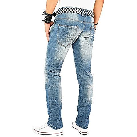 Originale Knights MA011 progettista degli uomini jeans gamba dritta blu jeans da uomo progettista pantaloni distrutto distrutti Style W29-W36 / L32-L34