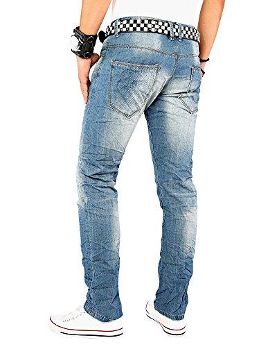 Originale Knights MA011 progettista degli uomini jeans gamba dritta blu jeans da uomo progettista pantaloni distrutto distrutti Style W29-W36 / L32-L34, Größe:W32 / L32