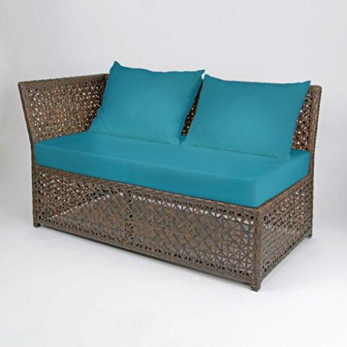Rattan4Life 4-teilig Florenz Deluxe Polyrattan Gartenmöbel Set, Sofa / Lounge / Gartengarnitur / Kissenbezug, braun / mix / türkis - 3