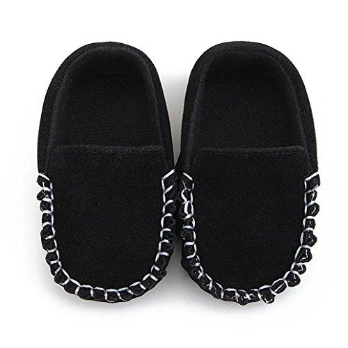 Janly Schuhe für 0-2 Jahre Baby, Neugeborene Mokassins Schuhe Krippe Schuh Mädchen Jungen Rutschfeste Weiche Wohnungen Schuhe Erste Wanderer (0-6 Monate, Schwarz) (Schnalle-mokassin)