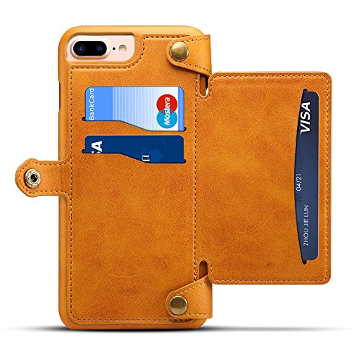 KelaSip iPhone 6/7/8 Hülle [Abnehmbare Knopfhülle] PU Ledertasche,Brieftasche,Handyhülle mit Kartenhalter und Münzfach mit Reißverschluss an der Rückseite Universal Mobile Store