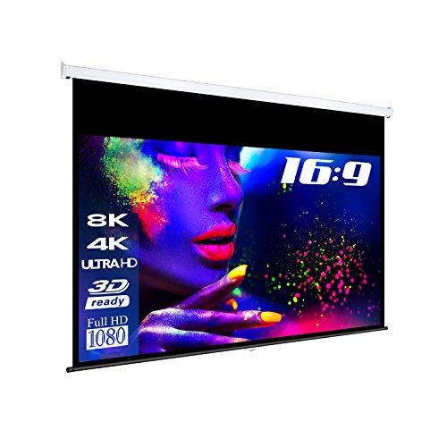 "ESMART Professional MIROLO Rollo-Leinwand [Größenauswahl] 266 x 149 cm (120"") 16:9 | Vollmaskierung | Heimkino Beamer Projektionsleinwand Rollo Leinwand LCD LED"