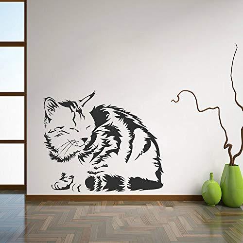 BFMBCH Adesivi murali gatto che dorme carino Soggiorno Adesivi murali in vinile Adesivi murali casa Adesivi per auto per animali Adesivi murali camera da letto per animali 31 Viola 50X42 cm