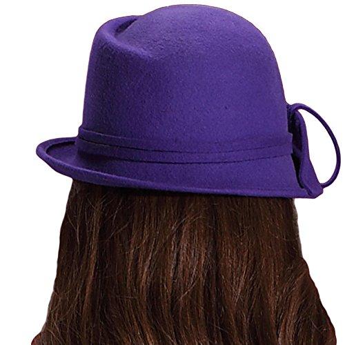 June's Young Femmes Chapeau d'hiver Vintage Colette Chapeau Cloche Femme Laine Style Rétro Violet