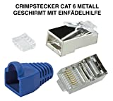 odedo® 12er Pack Crimpstecker CAT6 Metall geschirmt mit Einfädelhilfe und Knickschutz, Netzwerk Lankabel RJ45 Kat 6, Crimp Stecker Gigabit blau, Modular Plug shielded Connector with Insert (Blau)
