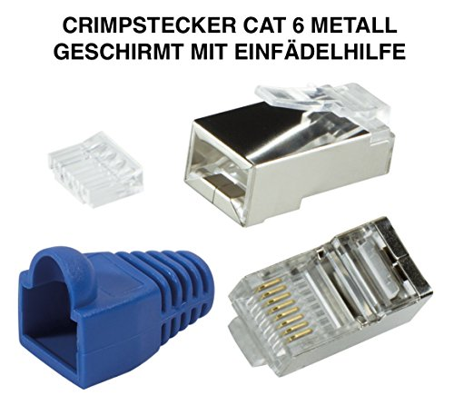 odedo® 12er Pack Crimpstecker CAT6 Metall geschirmt mit Einfädelhilfe und Knickschutz, Netzwerk Lankabel RJ45 Kat 6, Crimp Stecker Gigabit blau, Modular Plug shielded Connector with Insert (Blau) (Kat Metall -)