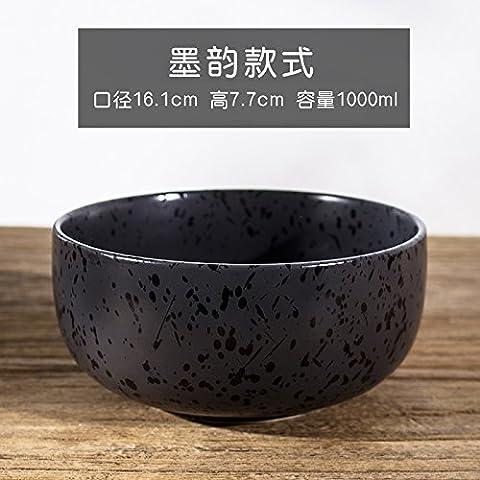 FAN4ZAME Vintage Japanische Küche Geschirr Aus Steingut Schale Große Schüssel Mit Suppe Haushalt Hand-Pulled Hand-Pulled Noodle Noodle Schüssel Salat Schüssel C