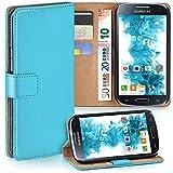 moex Samsung Galaxy S4 | Hülle Türkis mit Karten-Fach 360° Book Klapp-Hülle Handytasche Kunst-Leder Handyhülle für Samsung Galaxy S4 / S IV Case Flip Cover Schutzhülle Tasche