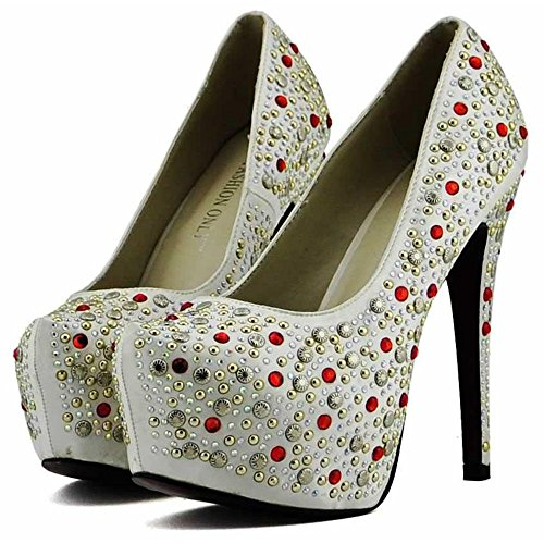 Trend Star Women Pumps Women's High Heels Platform Lace Party Pfennig new (Fancy Dress Star Mädchen)