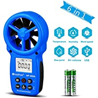 Holdpeak 866A Digital Anemometer - Wind Speed Meter Measures Wind Speed + Temperature + Wind flow with Data Hold & USB - The Most Accurate Anemometer Available! (Blue)(CE,ISO,ROHS,GMC)