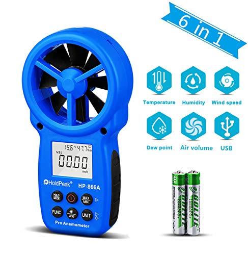 HOLDPEAK 866A Anemómetro Digital,Medidor de Velocidad del Viento,Mide la Velocidad del Viento,Temperatura y Flujo del Viento,con Retención de Datos y USB-El Anemómetro Más Preciso Disponible!