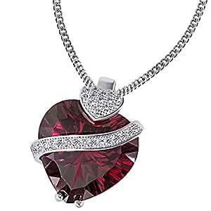 Goldmaid Damen-Collier Herz rubinrot Zirkonia weiß 925 Sterlingsilber 45 cm Fa C2606S