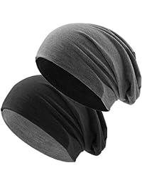 Klassische Jersey Slouch Long Beanie Mütze, leicht und weich, Reversible Bicolor für Damen und Herren