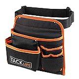 TACKLIFE Cintura Porta Attrezzi, Professionale, Tessuto Impermeabile, Tessuto a Tre Strati, Pinza, Coltello, Chiave-PTB01