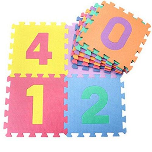 *EVA Platten Futurepast 10 Stück Kinder Puzzle Teppich Platten Puzzlematten Puzzle Teppich Bunt Kinder EVA-Schaum Spielmatte Krabbelmatte Bodenschutzmatte 30×30 cm*