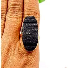 Indie Artisans - Anillo de turmalina Negra Natural con Piedras Preciosas Grandes, Hecho a Mano