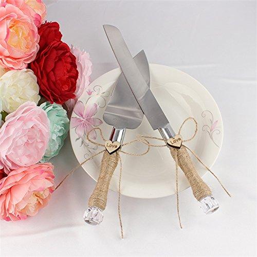 Etbotu Wrapped Griffe Server Set mit Edelstahl Klingen Flachs Seil und moderne Design Hochzeit Party Kuchen Messer