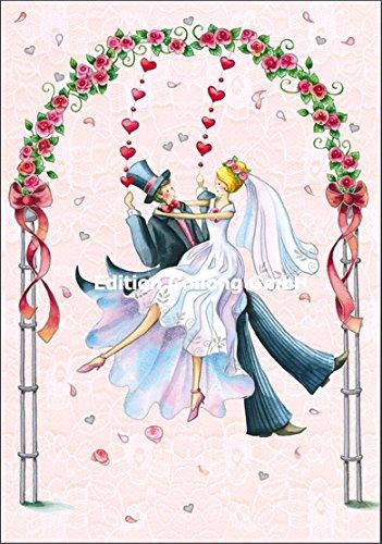 Doppelkarte mit Umschlag * Nina Chen * Paar auf einer Schaukel