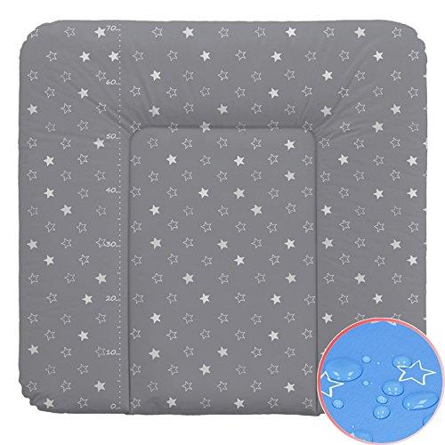 Weiche Wickelauflage Vliesfüllung 70x75cm Sterne dunkelgrau Wickeltischauflage Baby Auflage Wickeln