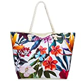 CASPAR TS1055 große Damen XXL Strandtasche/Shopper mit bunten Hawaii Motiven, Farbe:beige/Lilien;Größe:One Size
