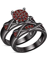 7c2b4f76d198 Lilu Jewels - Anillo de Compromiso de Plata de Ley 925 Maciza para Mujer en  Color