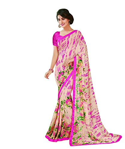 Subhash Sarees Pink and Off White Color Georgette Printed (Floral Print) Saree  available at amazon for Rs.1016