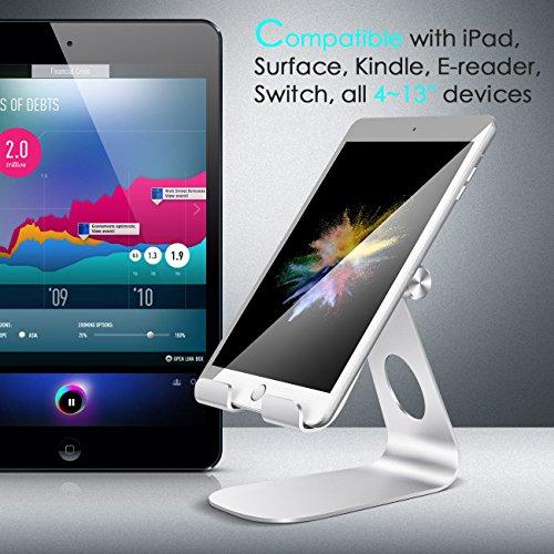 iPad Ständer Verstellbare, Lamicall Tablet Staender : Universal Halter, Halterung, Dock, Wiege für iPad Pro 10.5 / 9.7, iPad Air 2 3 4, iPad mini 1 2 3 4, Samsung Huawei E-Reader und Google Nexus 7 10 4 Tablette Schreibtisch, andere Tab Smartphone 5''-13'' - Silber - 7