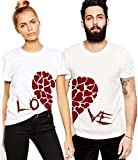 ADYK Cotton Half Sleeves Love Printed Couple T Shirts (Men:-M, Women:-XL)