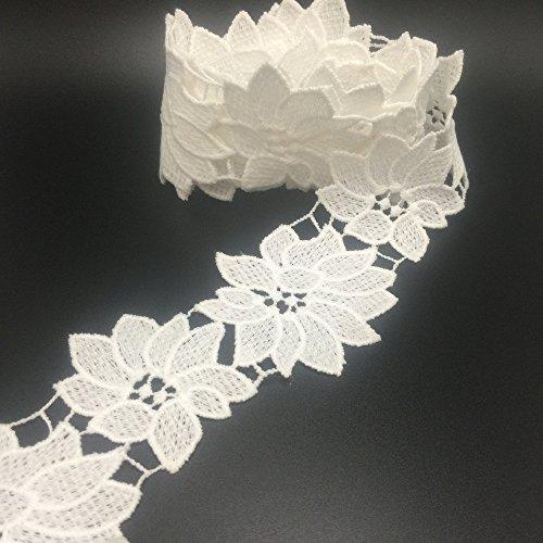 Ella Mama gehäkelter Spitze Trim DIY Craft Ribbon 5,1cm X 3yds, Flora Blumen Muster Dick Qualität -