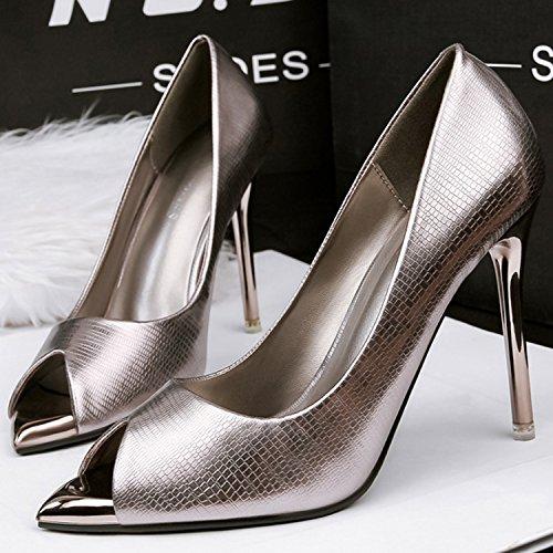 Oasap Women's Peep Toe Snakeskin Stiletto Heels Slip on Pumps silver