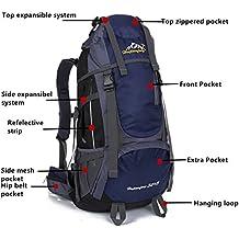 Mochila Trekking impermeable 55L, Mochilas para excursionismo montañismo deportiva Adecuado para hombre juveniles mochilas Camping senderismo al aire libre deportes- Azul Oscuro