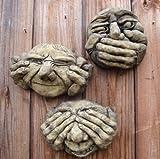 Homezone® Handgefertigt 3Nicht Hören See No Evil & Nicht Sprechen Gargoyle Funny Face Garden GNOME Wand Vorlagen
