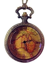 Malloom® Regalo de Navidad Retro Antique cadena mapa de Australia collar colgante reloj de bolsillo