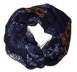 MANUMAR Loop-Schal für Damen   Hals-Tuch in Blau mit Totenkopf Motiv als perfektes Herbst Winter Accessoire   Schlauchschal   Damen-Schal   Rundschal   Geschenkidee für Frauen und Mädchen