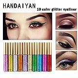 10 Colori/Set Glitter Ombretto Liquido,ROPALIA Metallico Waterproofe Professionale Eyeliner Eyeshadow Makeup Trucco Occhi Cosmetic