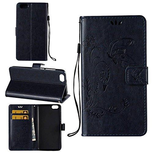 Guran® Custodia in Pu Pelle Flip Cover per Honor 4X Smartphone avere Portafoglio e Funzione Stent Modello Embossato di Farfalla Copertura Protettiva - Blu scuro