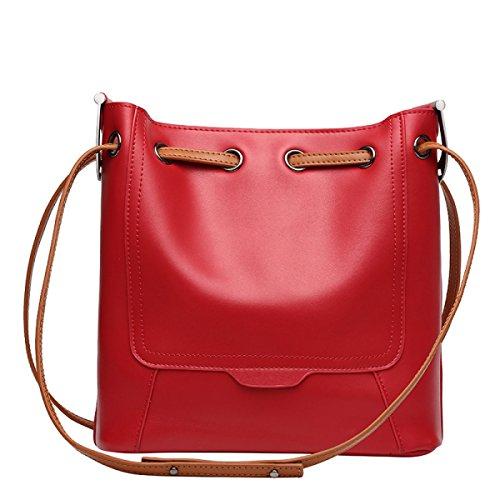 ZPFME Womens Handtasche Rindsleder Eimer Tasche Einkaufstasche Einfach Schultertasche Mädchen Party Retro Damen Mode Handtaschen Red