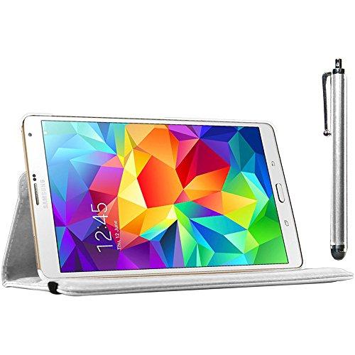 ebestStar - kompatibel Samsung Galaxy Tab S 8.4 Hülle SM-T700, SM-T705 Rotierend Schutzhülle Etui, Schutz Hülle Ständer, Rotating Case Cover Stand + Stift, Weiss [Tab: 212.8 x 125.6 x 6.6mm, 8.4'']