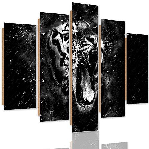 Feeby Frames, Décoration murale, Tableau multi panneaux - 5 parties - Image imprimée, Deco Panel, Type A, 150x100 cm, TIGRE, ANIMAL, TÊTE, GOUTTES D'EAU, NOIR ET BLANC